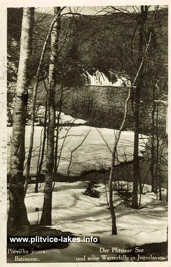 Snow at Batinovac Lake (Plitvice 1930s)