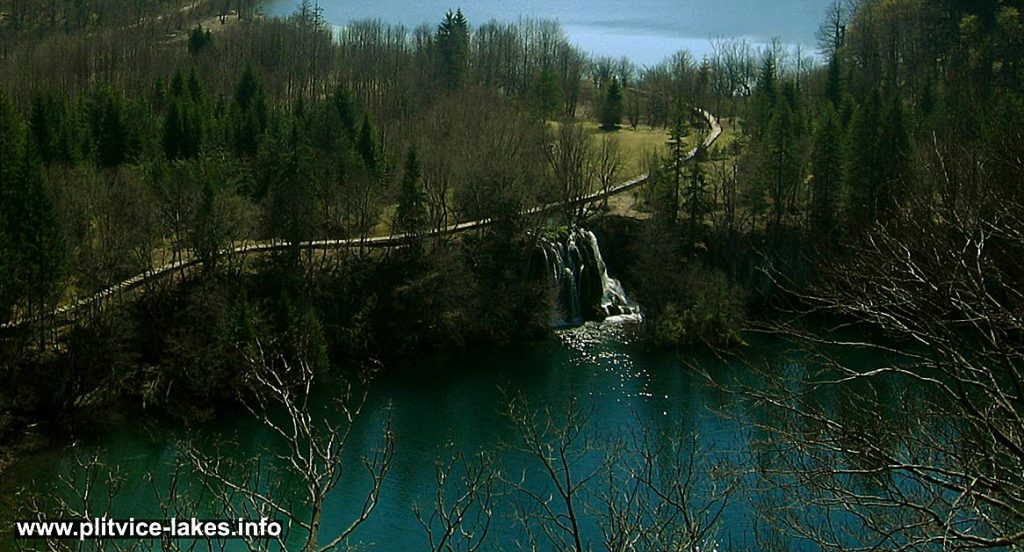 Birds Eye View of Ciganovac lake and waterfall, Plitvice