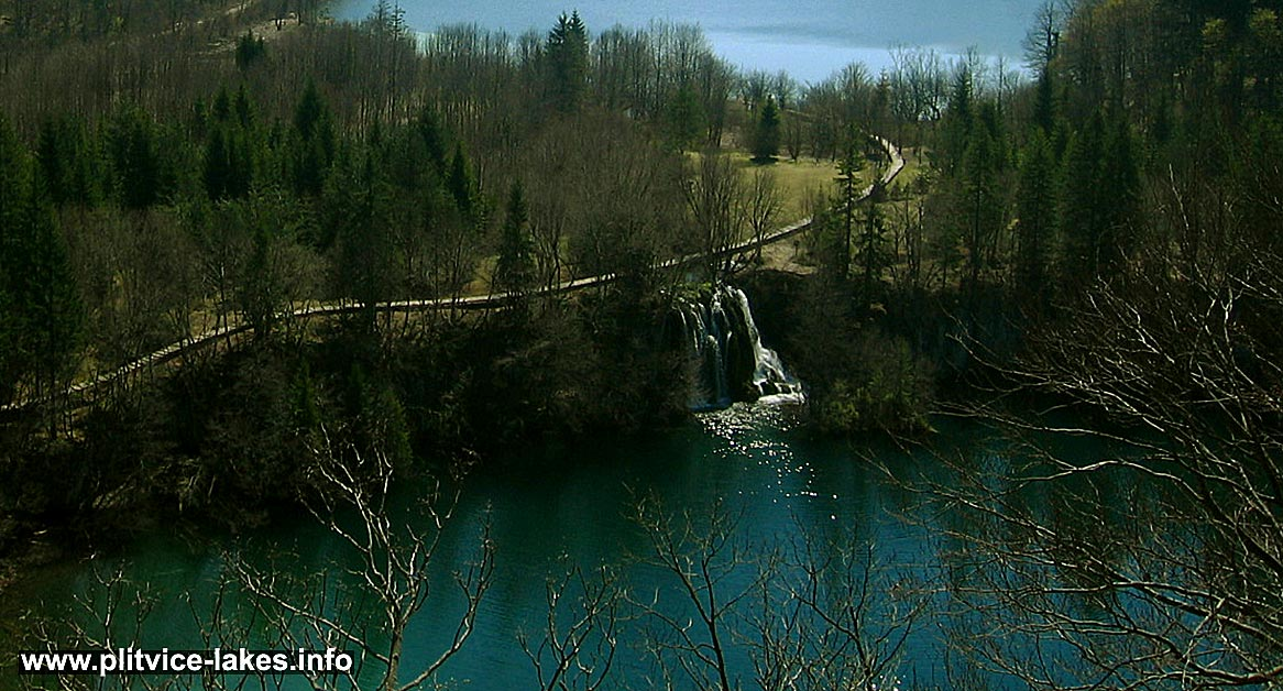 Birds Eye View of Ciganovac lake and waterfall, Plitvice