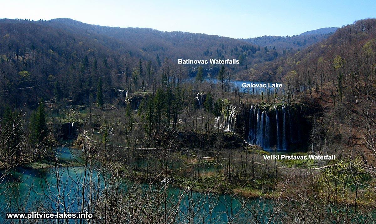 Panorama of Galovac Lake with Veliki Prstavac Waterfall