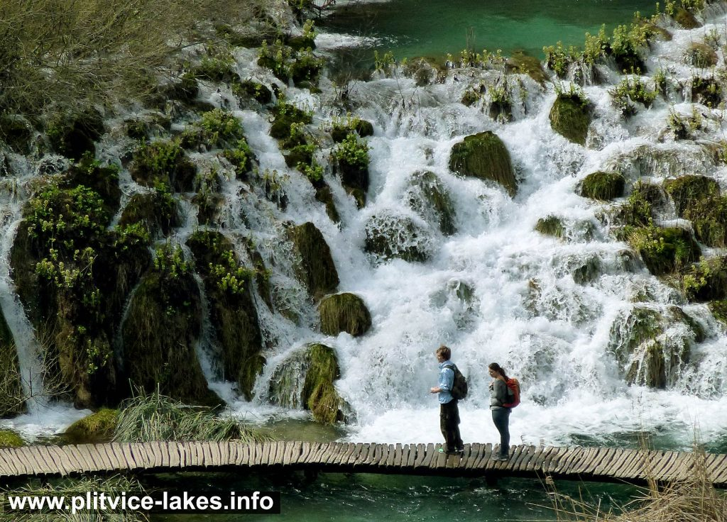 Walking along Cascades at Plitvice