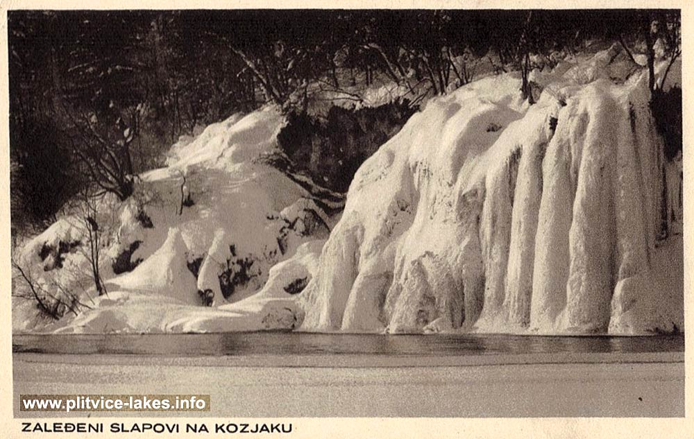 Frozen Waterfalls on Kozjak Lake (1930s)