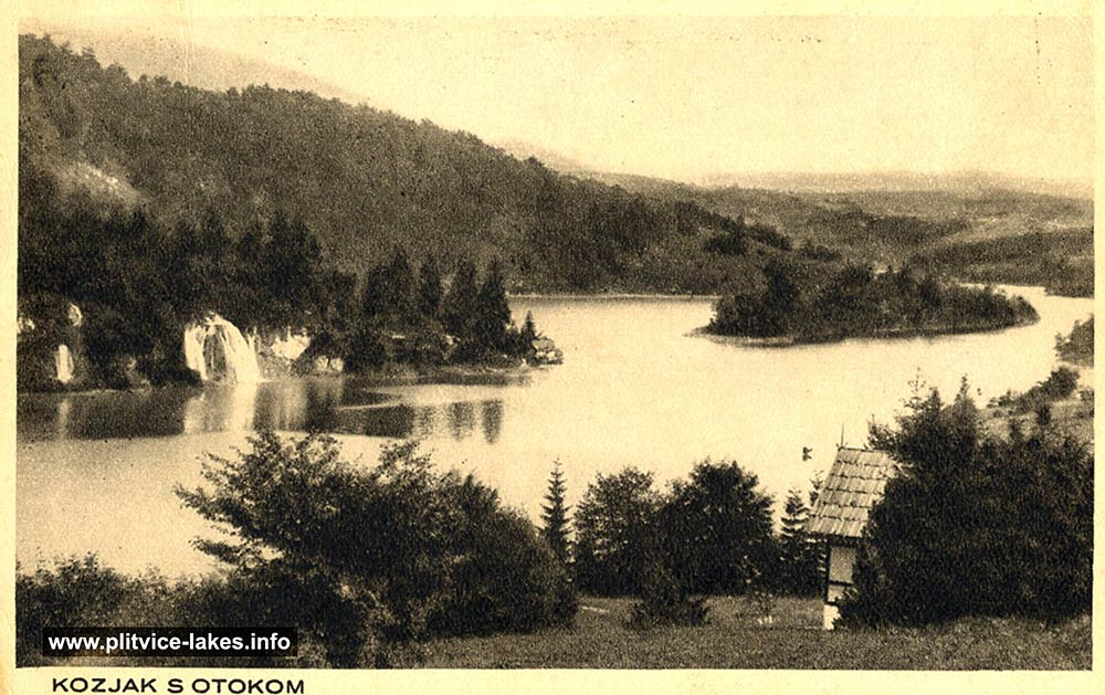Kozjak Lake and Island - Plitvice - Panorama (1930s)