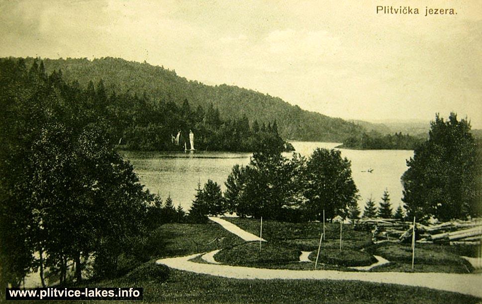 Panorama of Kozjak Lake at Plitvice Lake National Park (1930s)