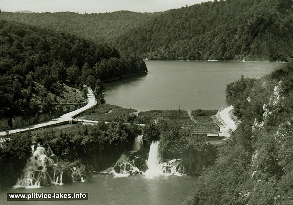 Panorama of Kozjak with Milanovački Slap Waterfall (Plitvice 1960s)