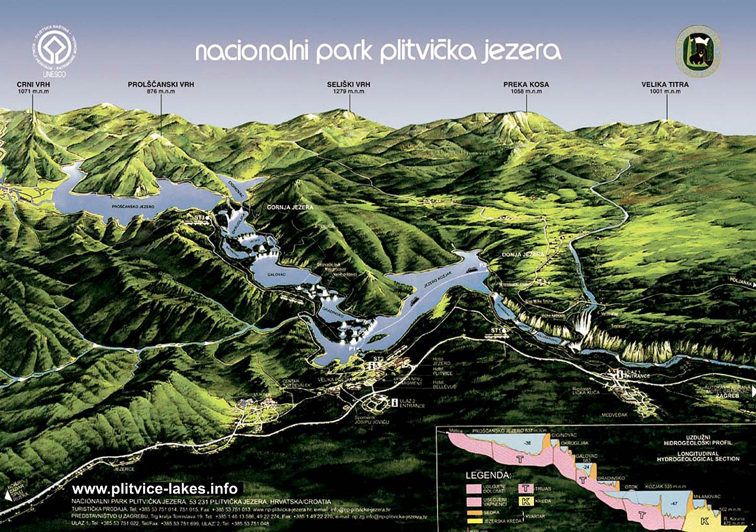 Visitor Map 3D of Plitvice Lakes National Park 2009  Plitvice