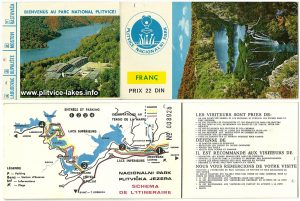Map and entry ticket to Plitvice Lakes (1970s) - French