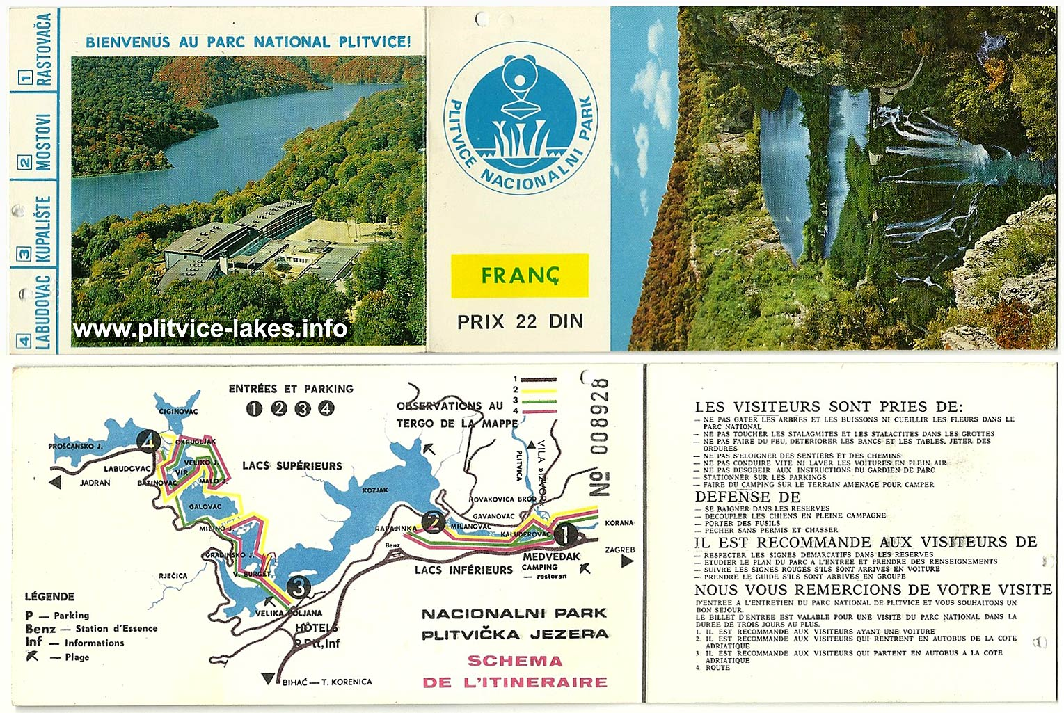 Map and entry ticket to Plitvice Lakes 1970s  French  Plitvice
