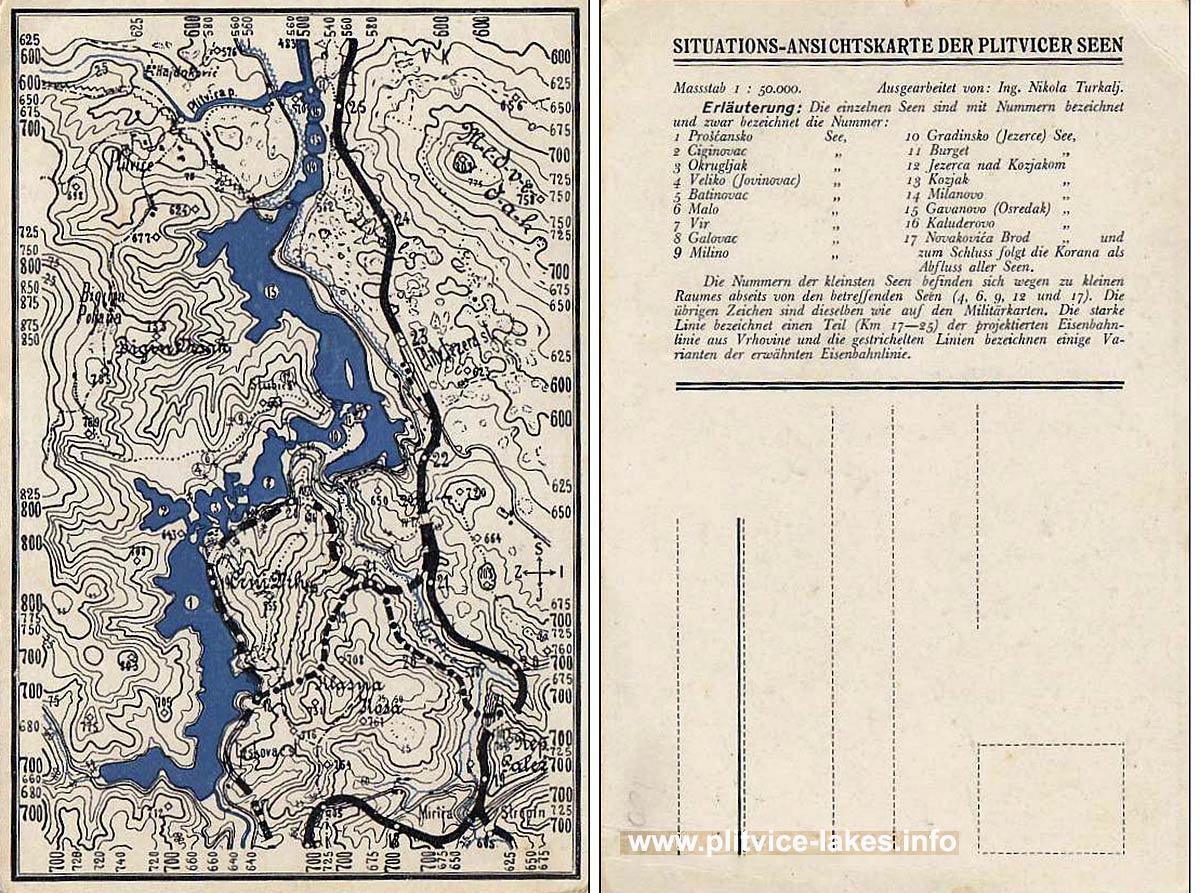 Map of Plitvice Lakes from 1920s