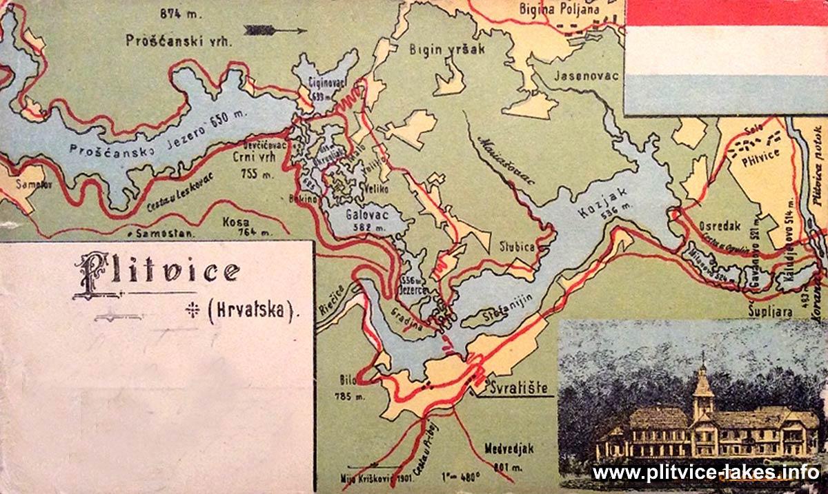 Plitvicka Jezera Map 1940s  Plitvice Lakes