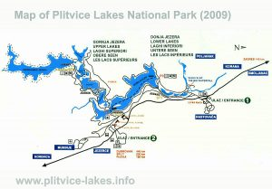 Map of Plitvice Lakes National Park (2009)