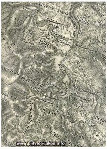 Map of Plitvice Lakes from 1880s