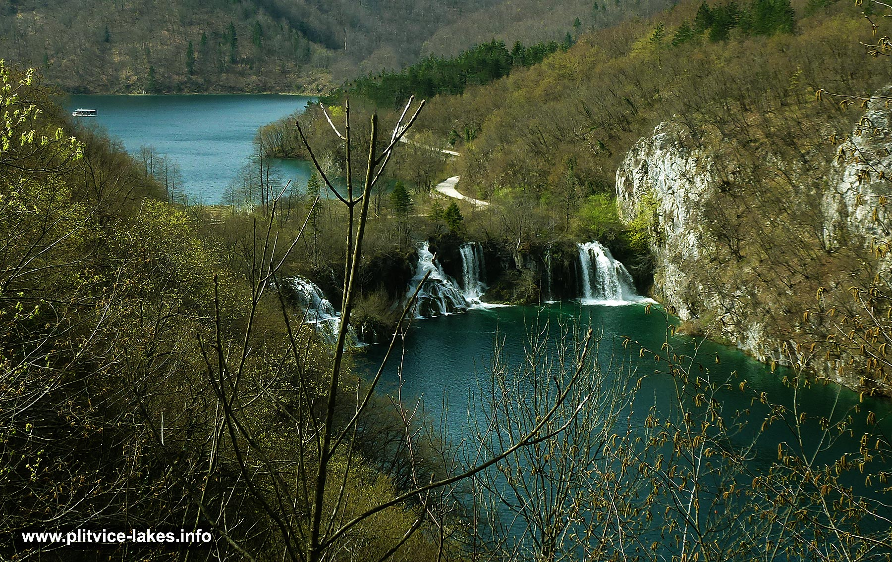 Milanovac Lake , Waterfalls and Kozjak in the background