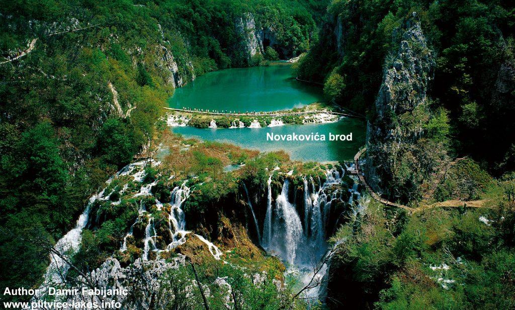 Panorama of Novakovića brod, Kaludjerovac Lake and Sastavci Waterfalls - Summer Plitvice Lakes National Park