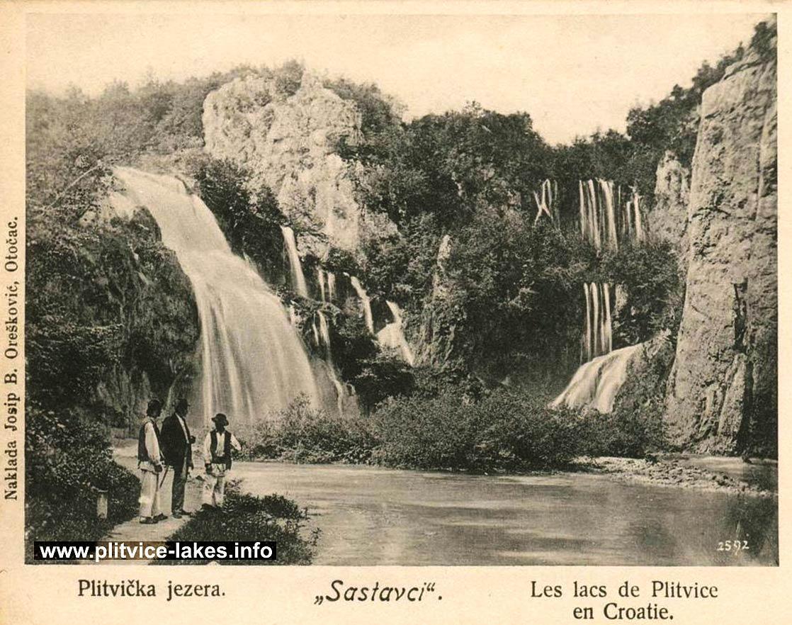 Sastavci Waterfalls , Plitvice Lakes (1920s)