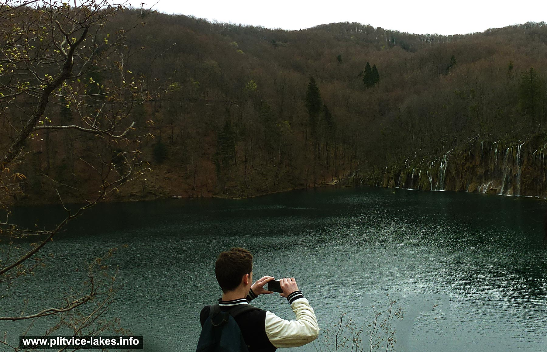 Taking Photo of Pltivice Spring in Lakes Panorama