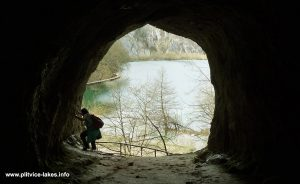 Interior of Šupljara cave with views over Kaludjerovac Lake @ Plitvice Lakes
