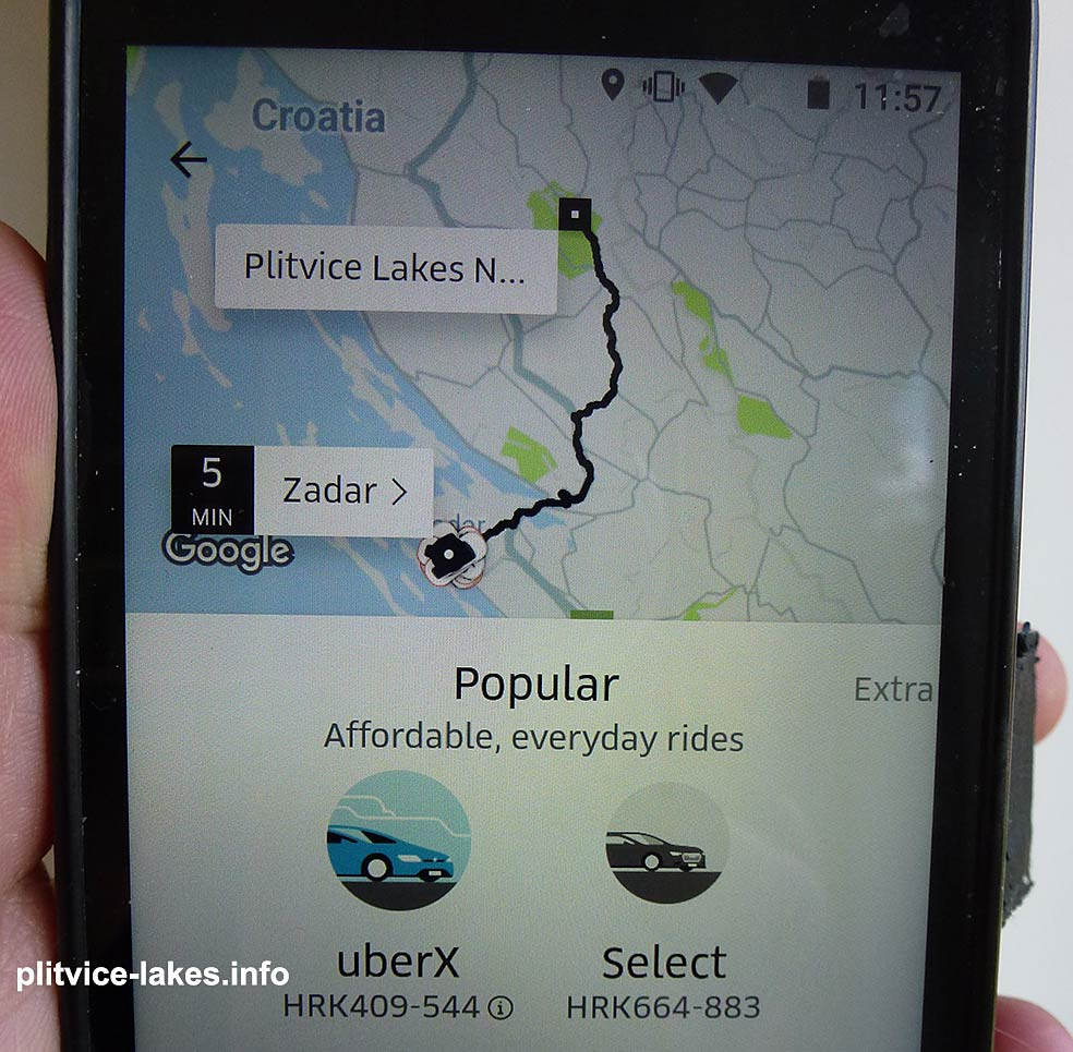 Zadar to Plitvice by Uber is also available and the current price is between 409 and 544 HRK
