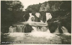 Front views over Milke Trnine Waterfalls (1950s)